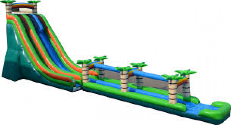 22' Dual Lane Slide with Slip n Slide