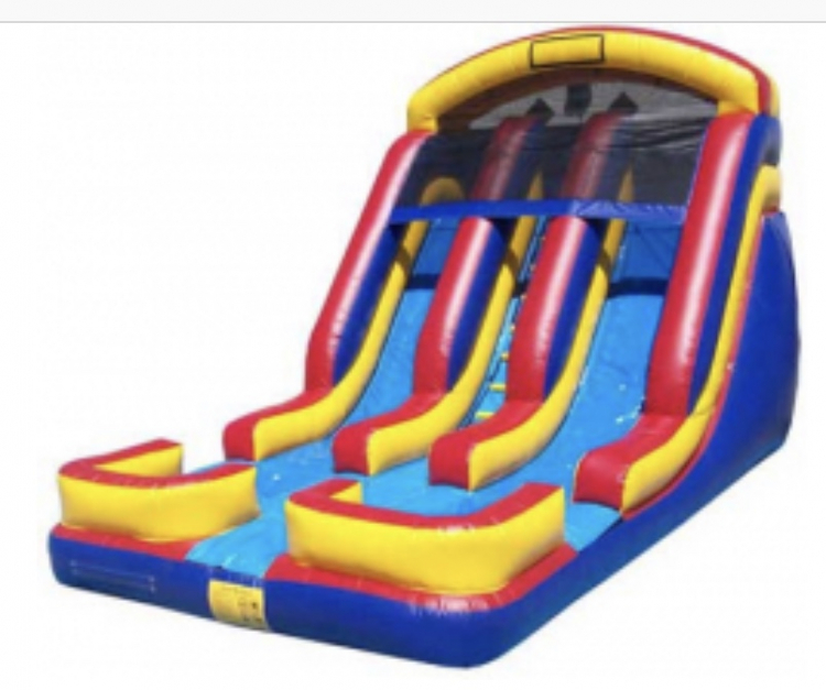 20' Dual Lane Wet/Dry slide (WET) with splash pools